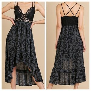 NWT Animal Print Lace Bralette High Low Dress